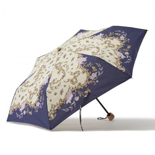 華やかなスカーフ柄の日傘ミニネイビー