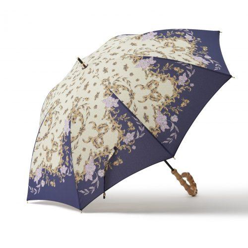華やかなスカーフ柄の日傘ネイビー