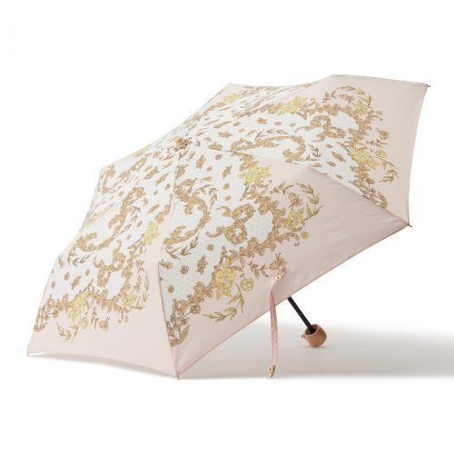 華やかなスカーフ柄の日傘ミニピンク
