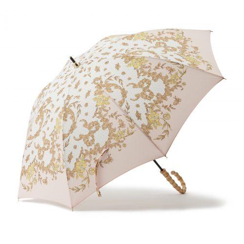 華やかなスカーフ柄の日傘ピンク