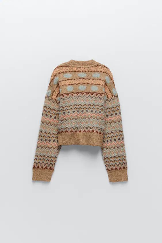 ジャカードニットセーター