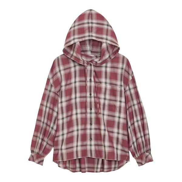 GU フーディーチェックシャツ(長袖)YG+X