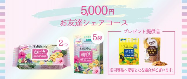 【サボリーノHAWAII】CAMPFIRE クラウドファンディングの返礼品・お友達シェアコース