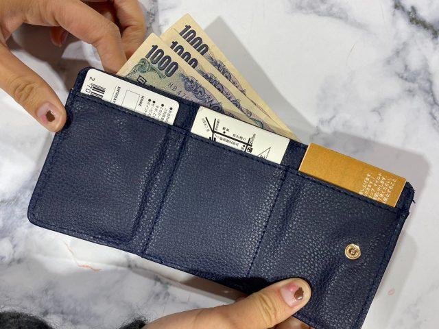 クレイサスの財布にお金やカードを入れたところ