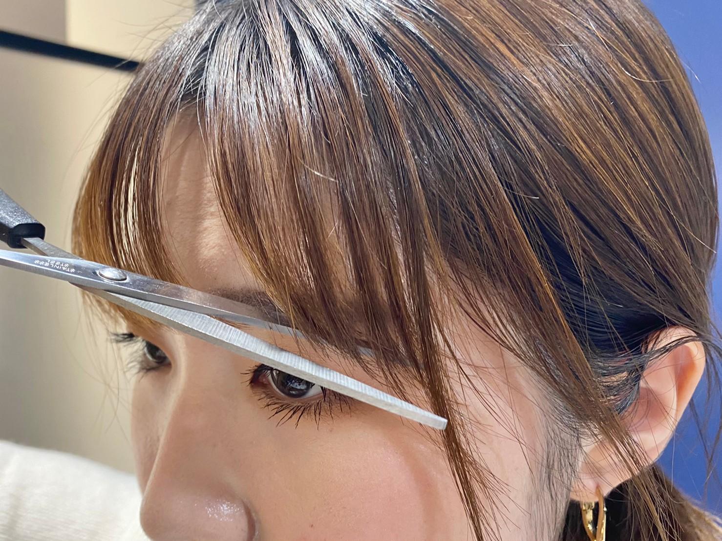 流し前髪の切り方手順