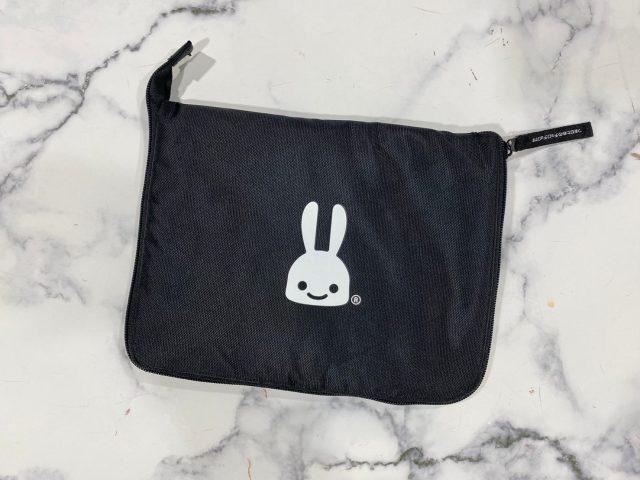 CUNE(R) ウサギワッペン付きビッグショッピングバッグをコンパクトにまとめたところ