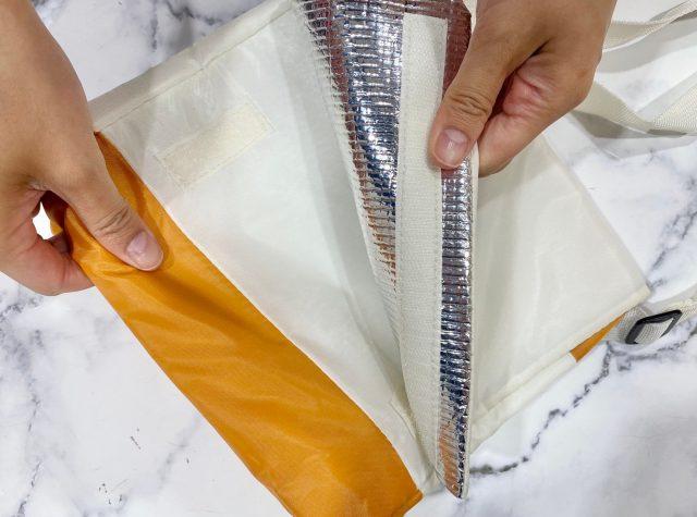CHUMS テント型 保冷バッグのフラップ