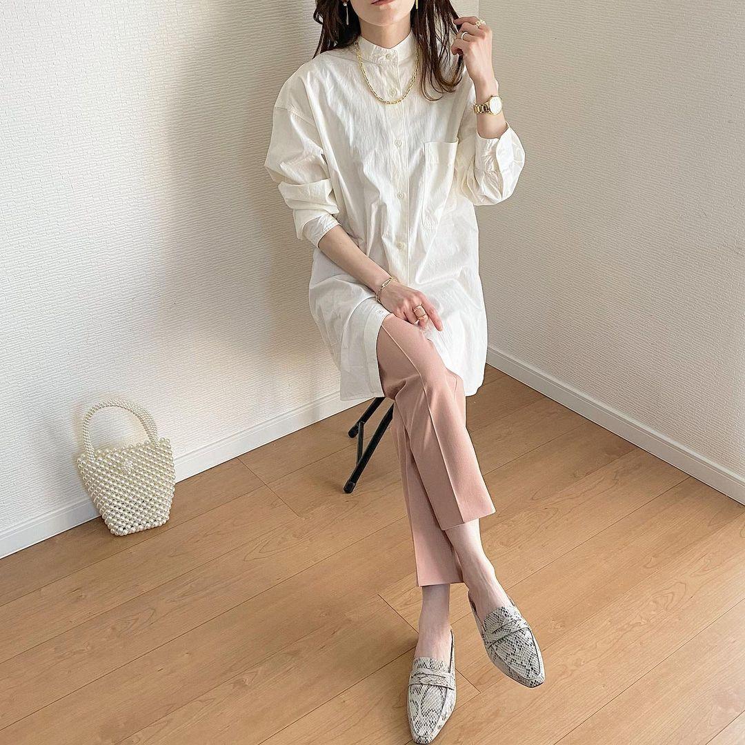 オーバーサイズシャツコーデ画像