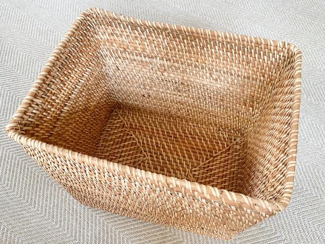 重なるラタン長方形バスケット・大