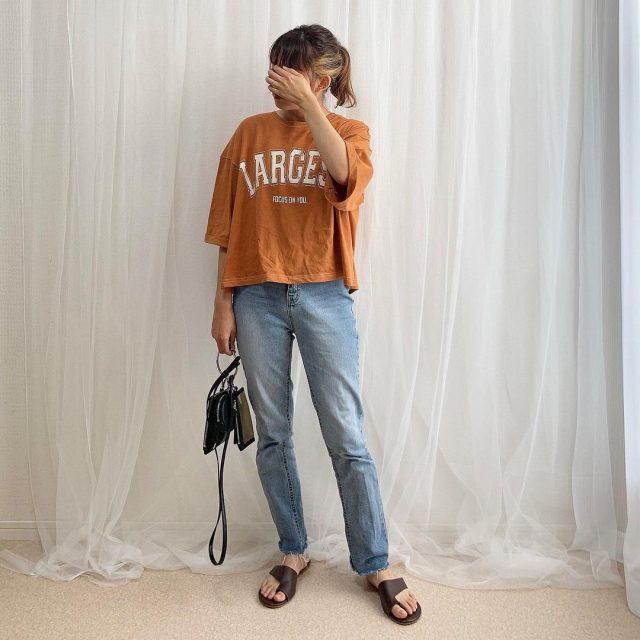 しまむらOFALO配色ステッチロゴTシャツ