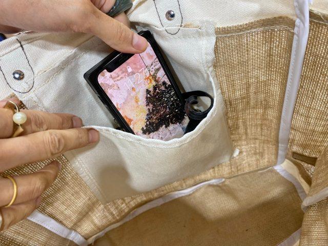 ジュートバッグ内ポケット